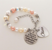 Goddaughter Personalized Swarovski Bracelet Peach & Yellow  - Boxed